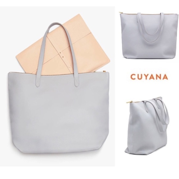 475c005cbce95 Cuyana Bags | Classic Leather Zippered Tote In Pearl Grey | Poshmark